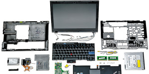 Exploded view of a laptop