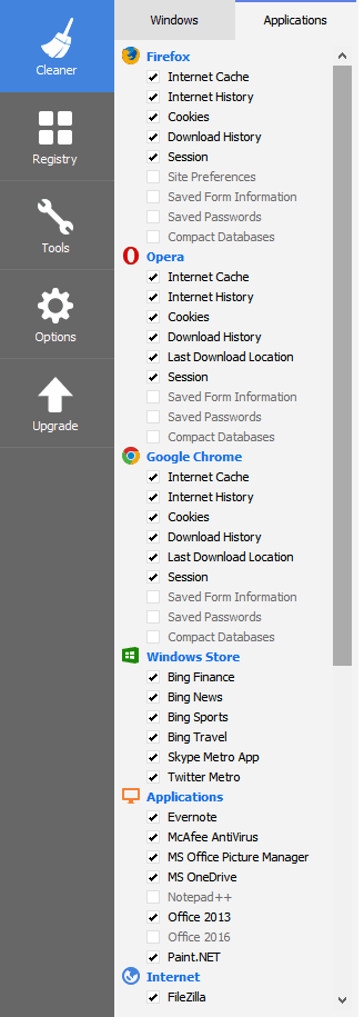 CCleaner Applications Pane