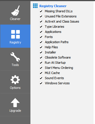 Registry Section of CCleaner