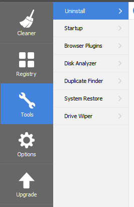 Tools Section CCleaner