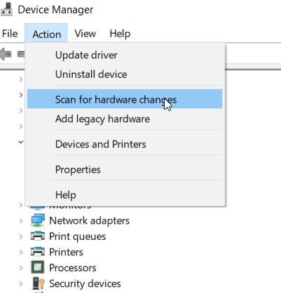usb mouse not working on laptop - Device Manager showing Scan for hardware changes