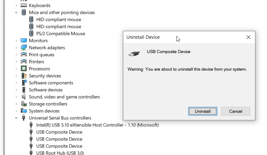 usb mouse not working on laptop - Device Manager showing uninstalling a problematic device