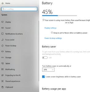 battery saver setting - my laptop battery won't hold its charge